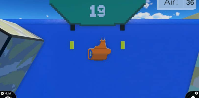 An orange submarine with two missles being fired on either side