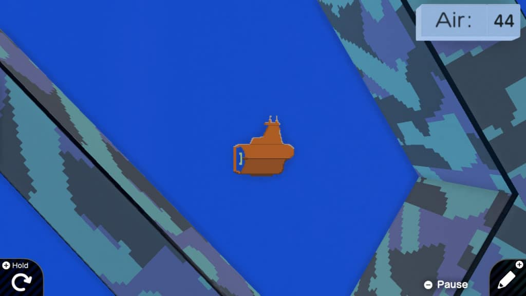 An orange submarine surrounded by walls